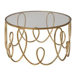 Gorgeous Gold Swirl Open Coffee Table | Round Modern Contemp
