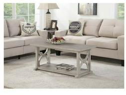 Gray Solid Wood Coffee Table Living Room Rustic Accent Farmh