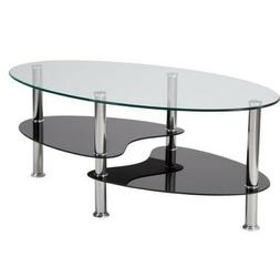 Flash Furniture Hampden Glass Coffee Table with Black Glass