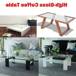 High-Gloss Coffee Table with Shelf Modern Rectangle Study Li