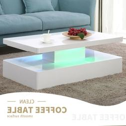 Modern High Gloss White LED Coffee Table w/ Remote Control L