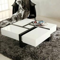 Homary Black&White Square Coffee Table with Storage 4 Drawer