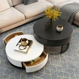 Homary Living Room Lift-top Wood Coffee Table with Rotatable