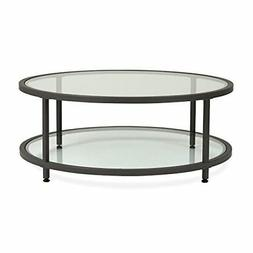 Studio Designs Home Camber Round Pewter Coffee Table with Cl