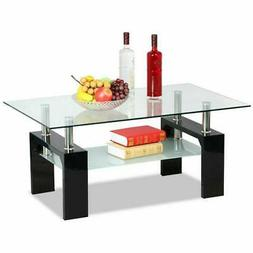 Home Rectangular Tempered Glass Coffee Table w/Shelf Wood Mo