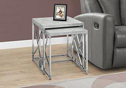 Monarch I 3376 Nesting Table-2Pcs Set/Grey Cement with Chrom