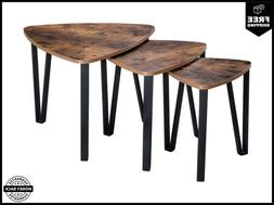 VASAGLE Industrial Nesting Coffee Table Set Of 3 End Tables