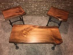 Industrial Pipe and Wood Coffee and End Table Set Live Edge
