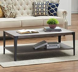 O&K Furniture Industrial Rectangular Cocktail Coffee Table w