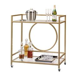 Sauder 417828 International Lux Bar Cart, Glass/Satin Gold F