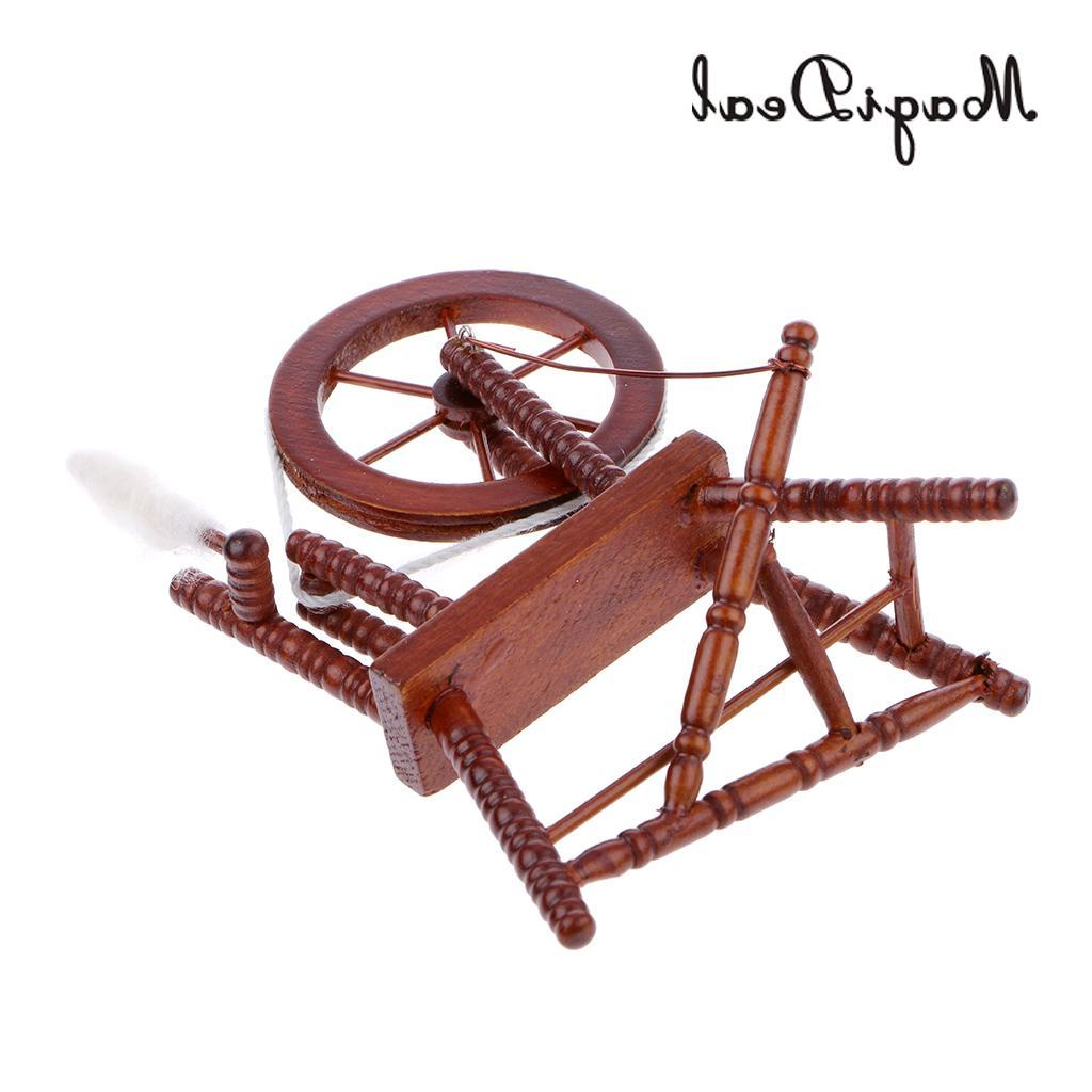 MagiDeal 1/12 Spinning <font><b>Wheel</b></font> Dollhouse Miniature Acce Room Table <font><b>Decor</b></font> Classic
