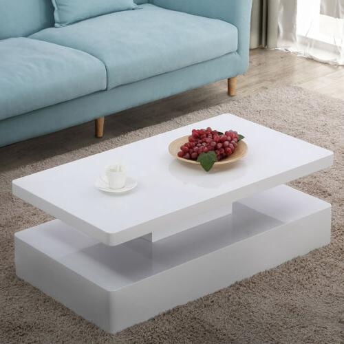 Modern High White LED Table Remote Control Furniture