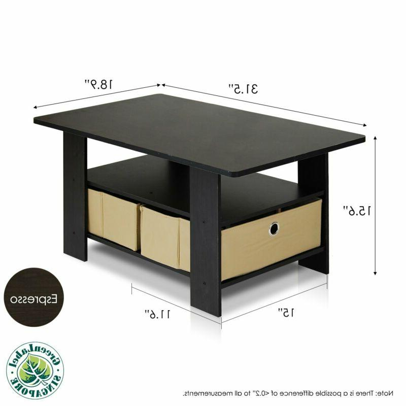 Furinno 11158EX/BR Table with Bins,