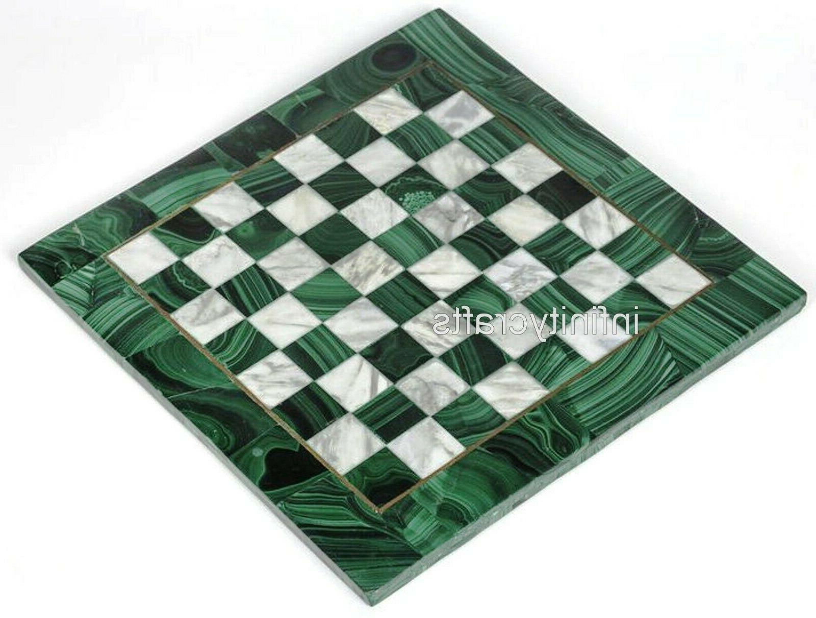 15 Inches Marble End Table Green Coffee Cum Table Inlay
