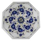 15'' White Marble Coffee Table Inlay Floral Design Lapis Wor