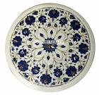 "15"" White Marble Coffee Table Top Marquetry Inlaid Lapis Flo"