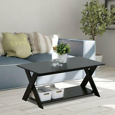 Furinno Modern Coffee Table, Espresso, Design