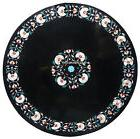 "18"" Black Marble Coffee Table Top Rare Malachite Inlay Patio"