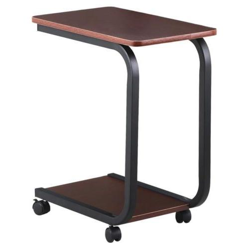2 Tier Coffee Side End Snack Table Otoman Rolling