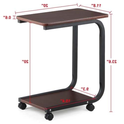 2 Side End Snack Tray Table Otoman Stand Desk