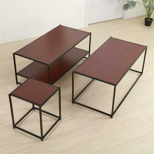 2 tier side end table coffee storage