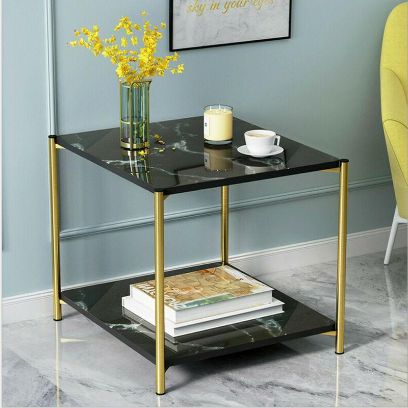 2 Tier Side Table Square/Round Storage Shelf Living Room
