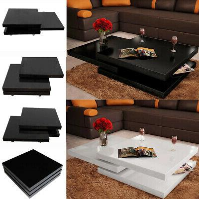 3 layer tiers coffee table sliding modern