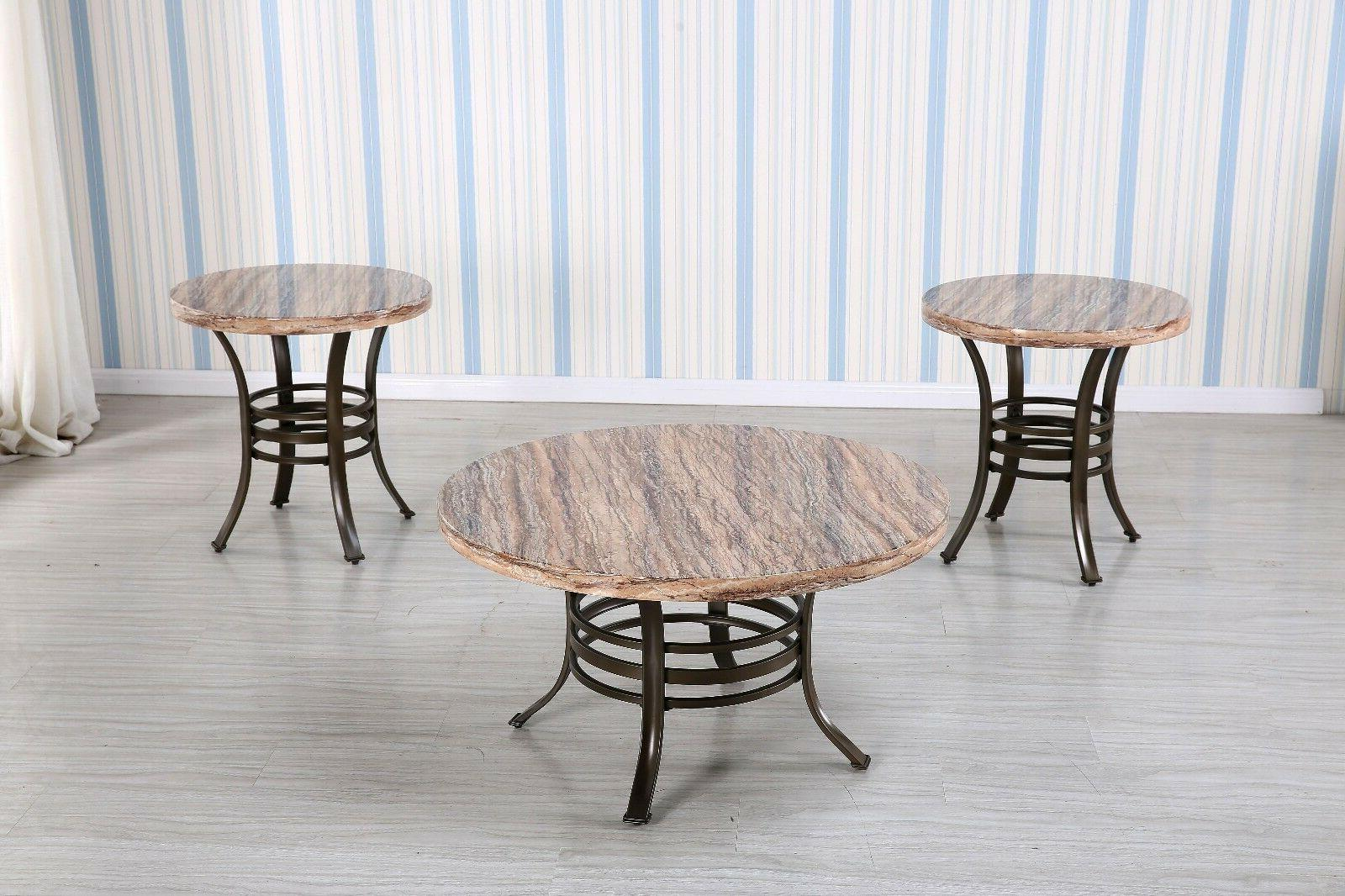 3-PC Round Faux Marble Top Coffee Table and End Table Set wi