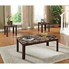 3 Piece Coffee and End Table Set Faux Marble Stylish Modern