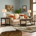 3-Piece Coffee Table Set 2 End Tables Hand Finished Brown St