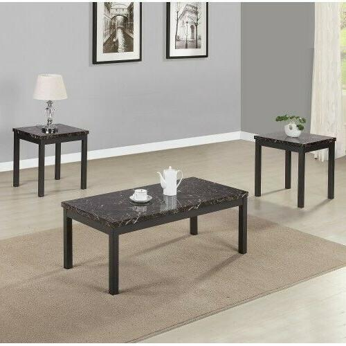 3 Piece Faux Marble Coffee Table Set metal legs and apron Li