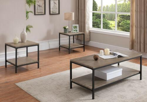 3 Piece Gray / Black Occasional Table Set, Coffee Table & 2