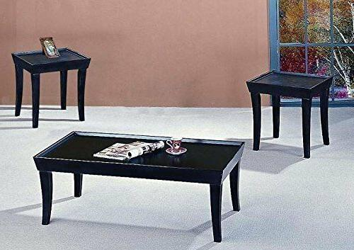 3 pieces black coffee table and end