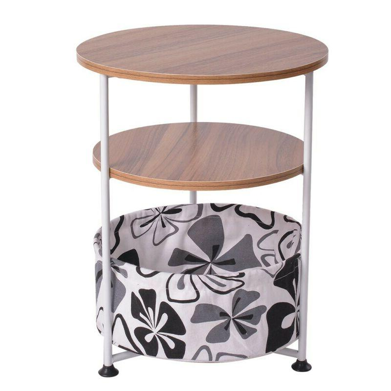 Modern Round Coffee Table Small Sofa End Side Wood Room Table