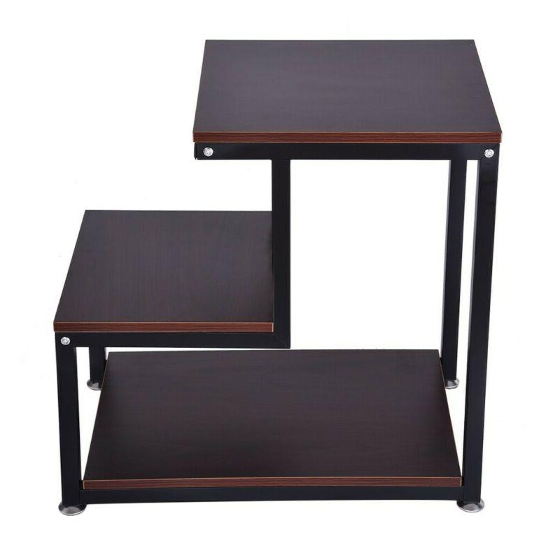 3-Tier Coffee End Side Table with Storage Stand