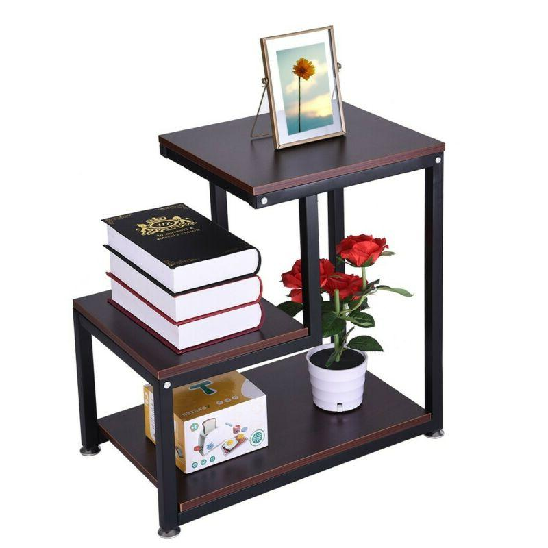 3-Tier Modern Wood Square Coffee Side with Storage Shelves Night Stand