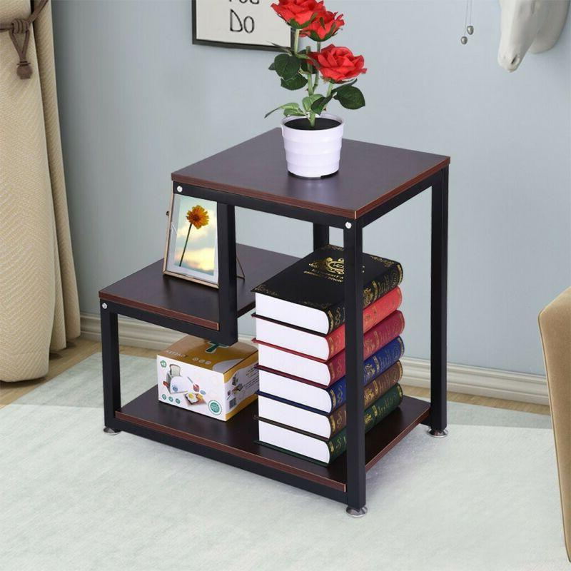 3-Tier Coffee Side with Storage Shelves Stand