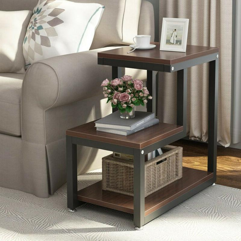 3 tier modern wood square coffee end