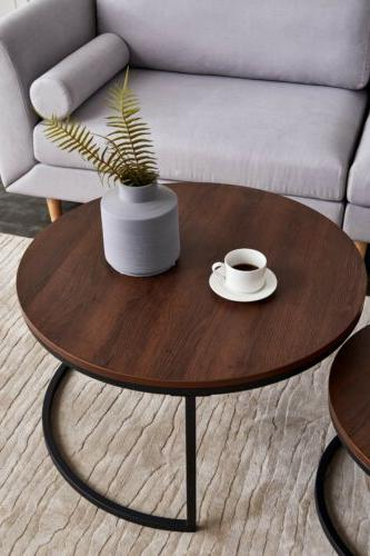 Modern Metal Frame Round Coffee Table w/ Little Table  Livin