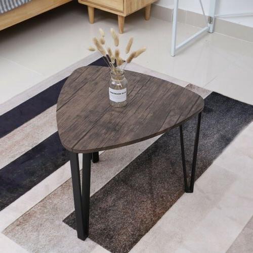 3Pcs/Set Coffee Table Industrial Triangular Side Living Room Furniture