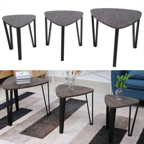 3Pcs/Set Coffee Table Industrial Triangular Side End Table Living