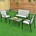 4 PCS Patio Furniture Set Sofa Coffee Table Steel Frame Gard
