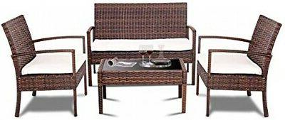 TANGKULA 4 Piece Patio Outdoor Conversation Set With Glass C