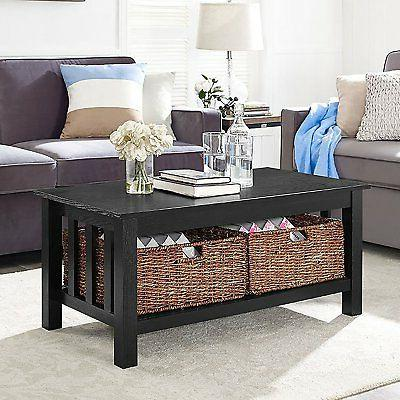 40 wood storage coffee table with totes