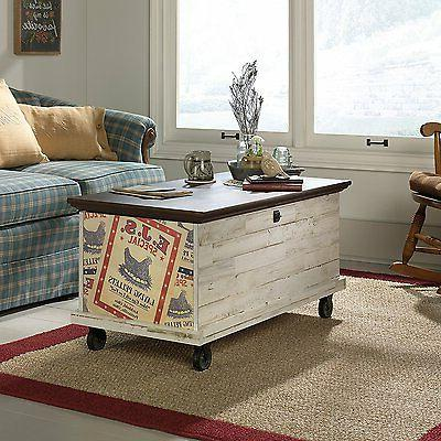 Sauder 419590 Eden Rue Rolling Chest Trunk Coffee Table, Whi