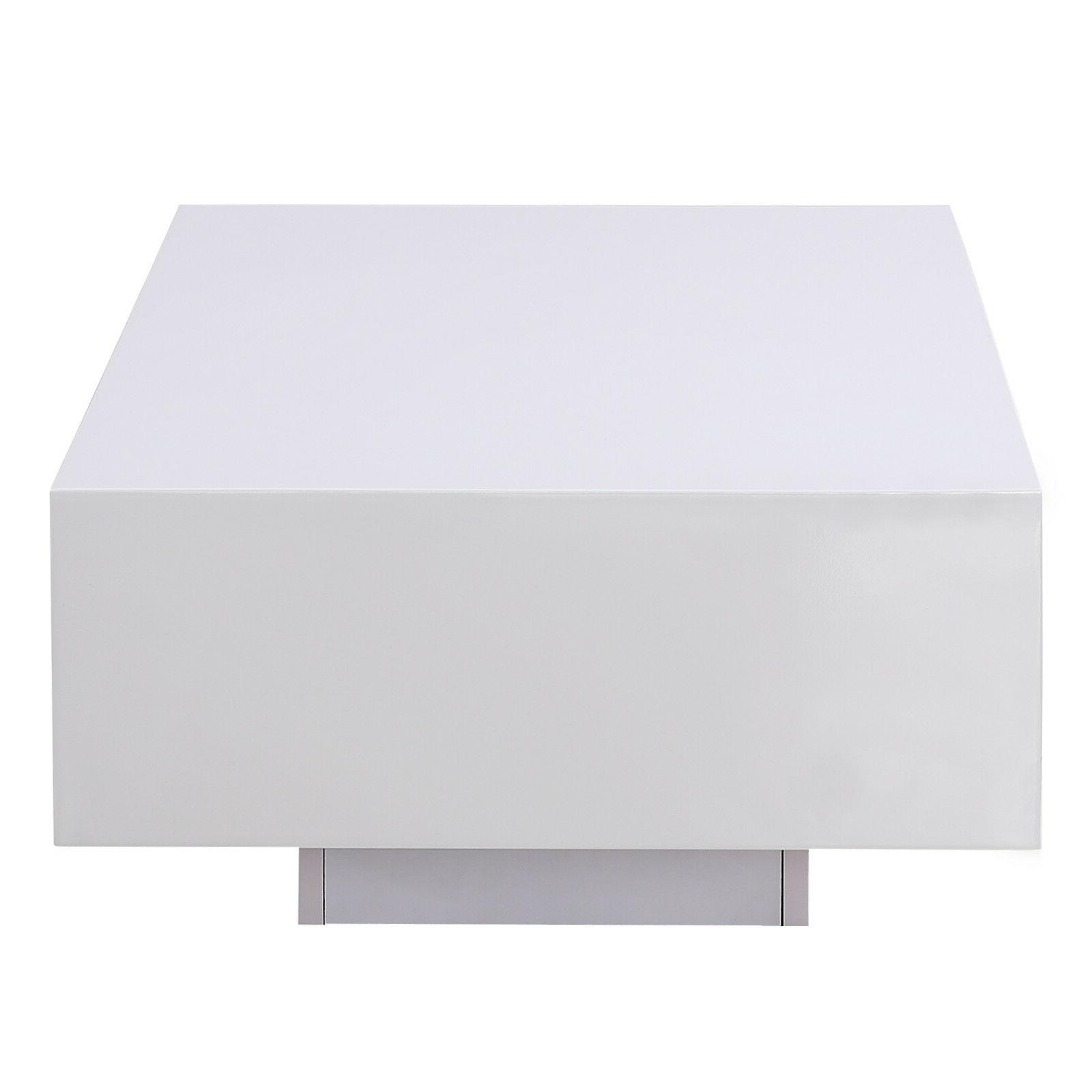 """45"""" Modern White Coffee Table Side Table Furniture"""