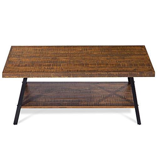 Olee Sleep Wood Metal Coffee Table, Rustic Brown