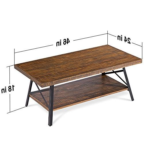 "Olee Sleep 46"" Wood Coffee Table, Rustic Brown"