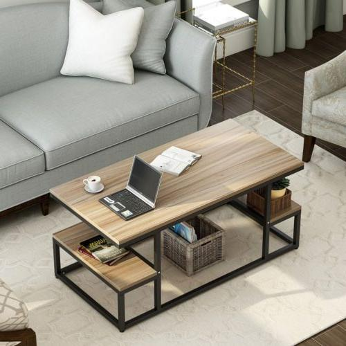 2 Coffee Table Large Storage Shelf Living 47''*24''*20''