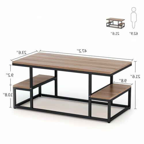 2 Tier Table with Large Open Storage Living 47''*24''*20''